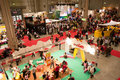 Panoramic view of a crowded indoor exhibition Stock Images