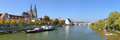 Panoramic view on Danube with Regensburg Cathedral Royalty Free Stock Photo