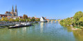Panoramic view on Danube river with Regensburg Cathedral, Germany Royalty Free Stock Photo