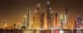 Panoramic view of Dubai Marina bay with cloudy sky on sunset, Dubai, UAE. Royalty Free Stock Photo