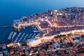 Panoramic view of Dubrovnik at night. Croatia Royalty Free Stock Photo