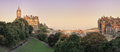 Panoramic view of Edinburgh, Scotland, UK on sunset