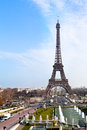 Panoramic view eiffel tower paris trocadero Stock Photo