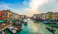 Panoramic view of famous Canal Grande from famous Rialto Bridge in Venice, Italy Royalty Free Stock Photo