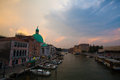 Panoramic view of famous Canal Grande from Rialto Bridge in Venice, Italy Royalty Free Stock Photo