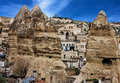 Panoramic view on famous tourist center Goreme, Cappadocia, Turk Royalty Free Stock Photo