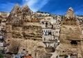 Panoramic view on famous tourist center Goreme, Cappadocia, Turk Royalty Free Stock Photo