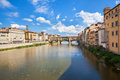 Panoramic view of florence and ponte vecchi italy vecchio bridges over arno river Royalty Free Stock Photo