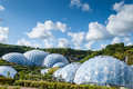 Panoramic view of the geodesic biome domes at the Eden Project. Royalty Free Stock Photo