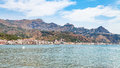Panoramic view of Giardini Naxos and Taormina city Royalty Free Stock Photo