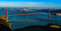 Panoramic view of the Golden Gate Bridge in San Francisco Royalty Free Stock Photo