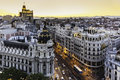 Panoramic view of Gran Via, Madrid, Spain. Stock Images