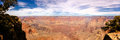 Panoramic view of Grand Canyon on sunny day. Royalty Free Stock Photo