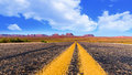 Panoramic view from highway in monument valley in Arizona and Utah Royalty Free Stock Photo