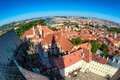 Panoramic view of the historic center of Prague from the South Tower of St Vitus Cathedral. Prague, Czech Republic Royalty Free Stock Photo
