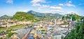 Panoramic view of the historic city of Salzburg, Salzburger Land, Austria