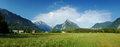 Panoramic view of idyllic mountain valley bovec slovenian alps slovenia europe Royalty Free Stock Images