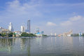 Panoramic view of iset river plotinka park yekaterinburg city russia and skyline with skyscraper under construction from the dam Royalty Free Stock Photos