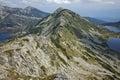 Panoramic view of Kremenski lakes and Popovo lake from Dzhano peak, Pirin mountain, Bulgaria Royalty Free Stock Photo