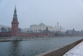 Panoramic view of the kremlin embankment in winter day snowstorm blizzard russia moskva river walls and towers moscow Stock Photography