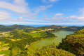 Panoramic view of Lagoa das Furnas, a lake in volcanic crater near Furnas in Azores, Portugal. Royalty Free Stock Photo