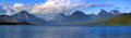 Panoramic view of lake mcdonald scenic area in glacier national park Royalty Free Stock Images
