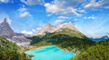 Panoramic view of Lake Sorapiss, faboulous landscape of Dolomite Royalty Free Stock Photography