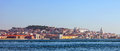 Panoramic view of lisbon portugal august from cacilhas with a praca do comercio pantheon and sao jorge castle Stock Images