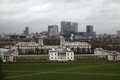 Panoramic view of london city with canary wharf and national maritime museum from greenwich tilt shift effect Royalty Free Stock Photography