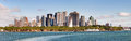 Panoramic view of lower manhattan skyline new york city Stock Photos