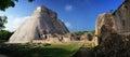Panoramic view of the Mayan pyramids in Uxmal, Yucatan, Mexico. Royalty Free Stock Photo