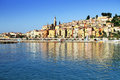 Panoramic View of Menton on the french Riviera in the South of F Royalty Free Stock Photo