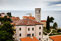Panoramic View on Monastery Tower in Porec Stock Photos