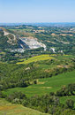 Panoramic view of montebello emilia romagna italy from castle Stock Image