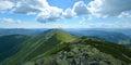 Panoramic view of the mountain ridge in Carpathians, Ukraine. Big Royalty Free Stock Photo