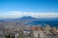 Panoramic view of naples italy town gulf and mount vesuvius from sant elmo castle Royalty Free Stock Photos