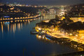 Panoramic view at night porto portugal of the old town along cais da riveira street and the river douro Stock Photo