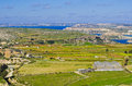 Panoramic view of the northern part of malta and g an aerial norther during winter displaying stunning green countryside Royalty Free Stock Photos