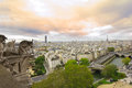 Panoramic view from Notre Dame de Paris at sunset Royalty Free Stock Photos