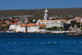 Panoramic view of old adriatic town Krk Stock Photography