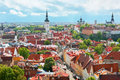 Panoramic view on the Old City of Tallin Stock Image