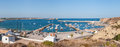 Panoramic view of old port in Sagres with traditional fishing boats Royalty Free Stock Photo