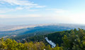 The panoramic view from olympus mount on national park of greece and mediterranean sea in light haze Royalty Free Stock Image