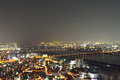 Panoramic view of osaka city at night japan Stock Photos