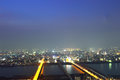 Panoramic view of osaka city at night japan Royalty Free Stock Image