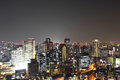 Panoramic view of osaka city at night japan Stock Photo