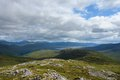 Panoramic view over buachaille etive mor pictorial hilly scenery in scotland around Stock Image