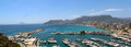 Panoramic view over calp spain town bay beach Stock Images