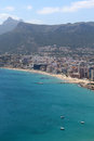 Panoramic view over calp spain town bay beach Royalty Free Stock Image