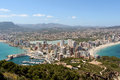 Panoramic view over calp spain town bay beach Royalty Free Stock Photography